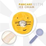 Χαμογελώντας την τηγανίτα με τη μύτη που γίνεται από το παγωτό Διανυσματική απεικόνιση για Shrovetide διανυσματική απεικόνιση
