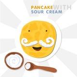 Χαμογελώντας την τηγανίτα με Mustache που γίνεται από την ξινή κρέμα Διανυσματική απεικόνιση για Shrovetide ελεύθερη απεικόνιση δικαιώματος