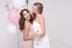 Χαμογελώντας φίλες που έχουν το γιορτάζοντας κόμμα bachelorette διασκέδασης στοκ φωτογραφίες