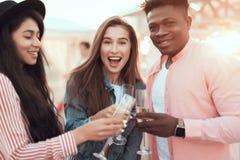 Χαμογελώντας φίλοι που δοκιμάζουν το ποτό οινοπνεύματος Στοκ φωτογραφίες με δικαίωμα ελεύθερης χρήσης