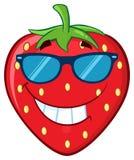 Χαμογελώντας χαρακτήρας μασκότ κινούμενων σχεδίων φρούτων φραουλών με τα γυαλιά ηλίου ελεύθερη απεικόνιση δικαιώματος