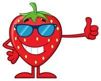 Χαμογελώντας χαρακτήρας μασκότ κινούμενων σχεδίων φρούτων φραουλών με τα γυαλιά ηλίου που δίνουν έναν αντίχειρα επάνω απεικόνιση αποθεμάτων