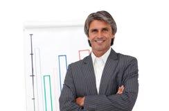 Χαμογελώντας ώριμος επιχειρηματίας μπροστά από ένα χαρτόνι Στοκ Εικόνες