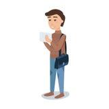 Χαμογελώντας άνδρας σπουδαστής σε μια καφετιά διανυσματική απεικόνιση χαρακτήρα κινουμένων σχεδίων πουλόβερ μόνιμη Στοκ Φωτογραφίες