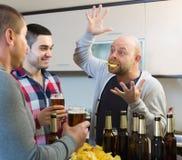 Χαμογελώντας άτομα που χαλαρώνουν με την μπύρα Στοκ Φωτογραφίες