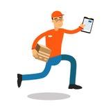 Χαμογελώντας άτομο παράδοσης που τρέχει με το cardbox και τα έγγραφα, αγγελιαφόρος σε ομοιόμορφο στο διάνυσμα χαρακτήρα κινουμένω Στοκ φωτογραφίες με δικαίωμα ελεύθερης χρήσης
