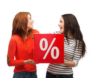 Χαμογελώντας έφηβη δύο με το σημάδι τοις εκατό στο κιβώτιο Στοκ εικόνα με δικαίωμα ελεύθερης χρήσης