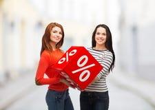 Χαμογελώντας έφηβη δύο με το σημάδι τοις εκατό στο κιβώτιο Στοκ φωτογραφία με δικαίωμα ελεύθερης χρήσης