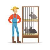 Χαμογελώντας αγρότης που στέκεται δίπλα στα κλουβιά κουνελιών, την καλλιέργεια και τη διανυσματική απεικόνιση γεωργίας ελεύθερη απεικόνιση δικαιώματος