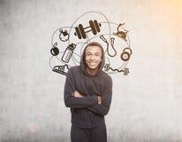 Χαμογελώντας αφρικανικά εικονίδια αθλητικών τύπων και αθλητισμού Στοκ φωτογραφία με δικαίωμα ελεύθερης χρήσης