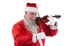 Χαμογελώντας βιολί παιχνιδιού Άγιου Βασίλη Στοκ Εικόνες