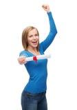 Χαμογελώντας γυναίκα με το δίπλωμα Στοκ φωτογραφία με δικαίωμα ελεύθερης χρήσης