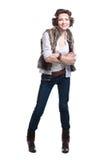 Χαμογελώντας γυναίκα μόδας στην ενδυμασία φθινοπώρου Στοκ φωτογραφία με δικαίωμα ελεύθερης χρήσης