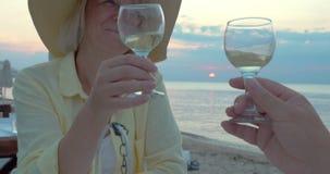Χαμογελώντας γυναίκα που ακούει μια φρυγανιά και ένα κρασί κατανάλωσης απόθεμα βίντεο