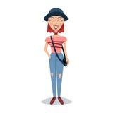 Χαμογελώντας γυναίκα σπουδαστής στα μοντέρνα ενδύματα και τη διανυσματική απεικόνιση χαρακτήρα κινουμένων σχεδίων καπέλων Στοκ Εικόνα