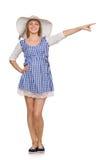 Χαμογελώντας γυναίκα στο απλό φόρεμα καρό και καπέλο που απομονώνεται στο μόριο Στοκ Εικόνα