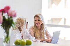 Χαμογελώντας εγγονή και γιαγιά που χρησιμοποιούν το φορητό προσωπικό υπολογιστή Στοκ εικόνα με δικαίωμα ελεύθερης χρήσης