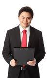 Χαμογελώντας επιχειρηματίας με το έγγραφο στοκ φωτογραφίες με δικαίωμα ελεύθερης χρήσης