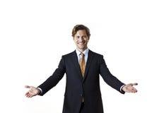 Χαμογελώντας επιχειρηματίας που λέει την υποδοχή Στοκ εικόνα με δικαίωμα ελεύθερης χρήσης