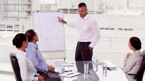 Χαμογελώντας επιχειρηματίας που δείχνει σε ένα διάγραμμα ανάπτυξης απόθεμα βίντεο