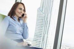 Χαμογελώντας επιχειρηματίας που μιλά στο τηλέφωνο κυττάρων στην αρχή Στοκ φωτογραφία με δικαίωμα ελεύθερης χρήσης