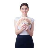 Χαμογελώντας επιχειρηματίας που στέκεται πέρα από απομονωμένο το λευκό υπόβαθρο Στοκ Εικόνα