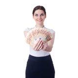 Χαμογελώντας επιχειρηματίας που στέκεται πέρα από απομονωμένο το λευκό υπόβαθρο Στοκ Φωτογραφίες