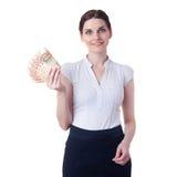Χαμογελώντας επιχειρηματίας που στέκεται πέρα από απομονωμένο το λευκό υπόβαθρο Στοκ φωτογραφίες με δικαίωμα ελεύθερης χρήσης