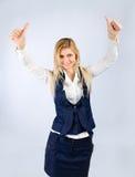 Χαμογελώντας επιχειρησιακή γυναίκα με μια συγκίνηση της χαράς Στοκ φωτογραφία με δικαίωμα ελεύθερης χρήσης