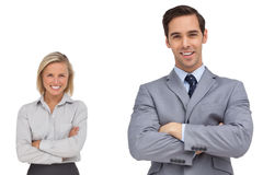 Χαμογελώντας επιχειρησιακοί ομο εργαζόμενοι που στέκονται από κοινού στοκ φωτογραφία με δικαίωμα ελεύθερης χρήσης