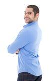Χαμογελώντας επιχειρησιακό άτομο πουκάμισο που απομονώνεται στο μπλε στο λευκό Στοκ φωτογραφίες με δικαίωμα ελεύθερης χρήσης