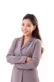 Χαμογελώντας, ευτυχής, θετική επιχειρησιακή γυναίκα Στοκ Εικόνα