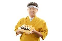 Χαμογελώντας ιαπωνικός αρχιμάγειρας Στοκ Φωτογραφίες