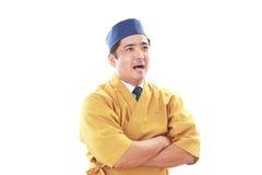 Χαμογελώντας ιαπωνικός αρχιμάγειρας Στοκ εικόνες με δικαίωμα ελεύθερης χρήσης