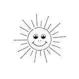 Χαμογελώντας κινούμενα σχέδια ήλιων Σημάδι καλοκαιρινών διακοπών Ευτυχές αστείο πρόσωπο διανυσματική απεικόνιση
