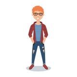 Χαμογελώντας κοκκινομάλλης σπουδαστής τύπων στα γυαλιά, το ελεγμένο πουκάμισο και τη σχισμένη απεικόνιση χαρακτήρα κινουμένων σχε Στοκ εικόνα με δικαίωμα ελεύθερης χρήσης