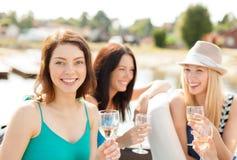 Χαμογελώντας κορίτσια με τα γυαλιά σαμπάνιας Στοκ φωτογραφίες με δικαίωμα ελεύθερης χρήσης