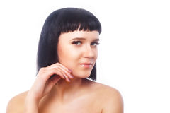 Χαμογελώντας νέα γυναίκα μετά από τη διαδικασία επέκτασης eyelash Μάτια γυναικών με τα μακροχρόνια eyelashes μαστίγια απομονωμένο στοκ εικόνες με δικαίωμα ελεύθερης χρήσης