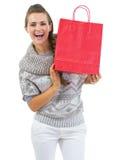 Χαμογελώντας νέα γυναίκα στο πουλόβερ που παρουσιάζει τσάντα αγορών Χριστουγέννων Στοκ εικόνες με δικαίωμα ελεύθερης χρήσης