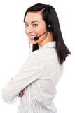Χαμογελώντας νέος ανώτερος υπάλληλος τηλεφωνικών κέντρων Στοκ εικόνα με δικαίωμα ελεύθερης χρήσης