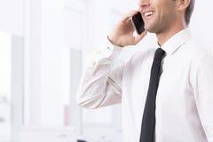 Χαμογελώντας νέος επιχειρηματίας στο τηλέφωνο Στοκ Φωτογραφίες