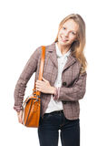 Χαμογελώντας νέο όμορφο κορίτσι που στέκεται με την τσάντα Στοκ εικόνες με δικαίωμα ελεύθερης χρήσης