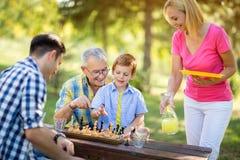 Χαμογελώντας σκάκι παιχνιδιού οικογενειακής χαλάρωσης Στοκ φωτογραφία με δικαίωμα ελεύθερης χρήσης