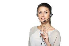 Χαμογελώντας τηλεφωνικός χειριστής υποστήριξης στην κάσκα Στοκ Φωτογραφία