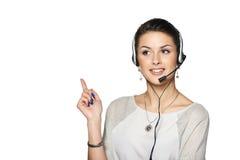 Χαμογελώντας τηλεφωνικός χειριστής υποστήριξης στην κάσκα Στοκ Φωτογραφίες