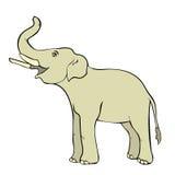 Χαμογελώντας τον ελέφαντα λοξά επάνω ο κορμός επίσης corel σύρετε το διάνυσμα απεικόνισης διανυσματική απεικόνιση