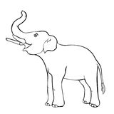 Χαμογελώντας τον ελέφαντα λοξά επάνω ο κορμός επίσης corel σύρετε το διάνυσμα απεικόνισης απεικόνιση αποθεμάτων