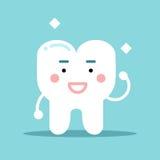 Χαμογελώντας υγιής ισχυρός χαρακτήρας δοντιών κινούμενων σχεδίων, οδοντική διανυσματική απεικόνιση για τα παιδιά Στοκ φωτογραφία με δικαίωμα ελεύθερης χρήσης