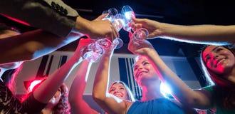 Χαμογελώντας φίλοι με τα ποτήρια της σαμπάνιας στη λέσχη Στοκ εικόνες με δικαίωμα ελεύθερης χρήσης