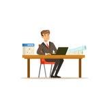 Χαμογελώντας χαρακτήρας επιχειρηματιών σε ένα κοστούμι που λειτουργεί σε έναν φορητό προσωπικό υπολογιστή στη διανυσματική απεικό Στοκ Εικόνες